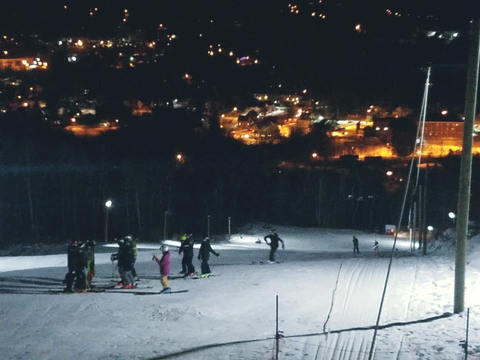 Night Skiing Overlooking Downtown Littleton, NH
