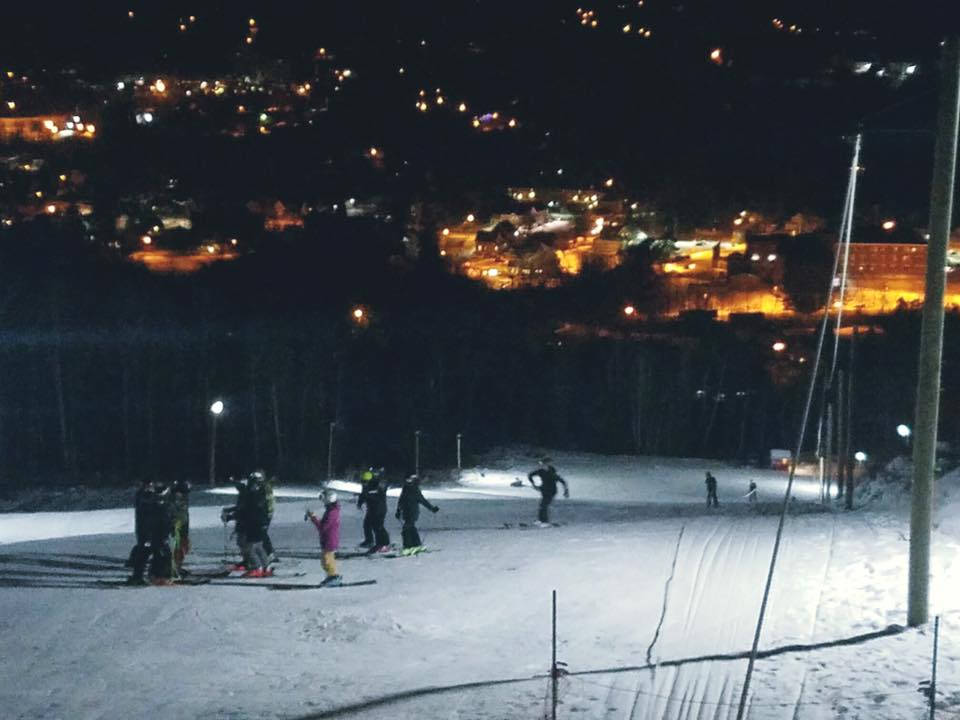 Night Skiing Overlooking Downtown Littleton, NH